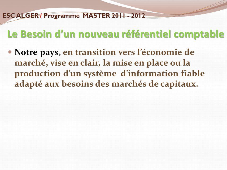 Le Besoin d'un nouveau référentiel comptable Le Besoin d'un nouveau référentiel comptable Notre pays, en transition vers l'économie de marché, vise en