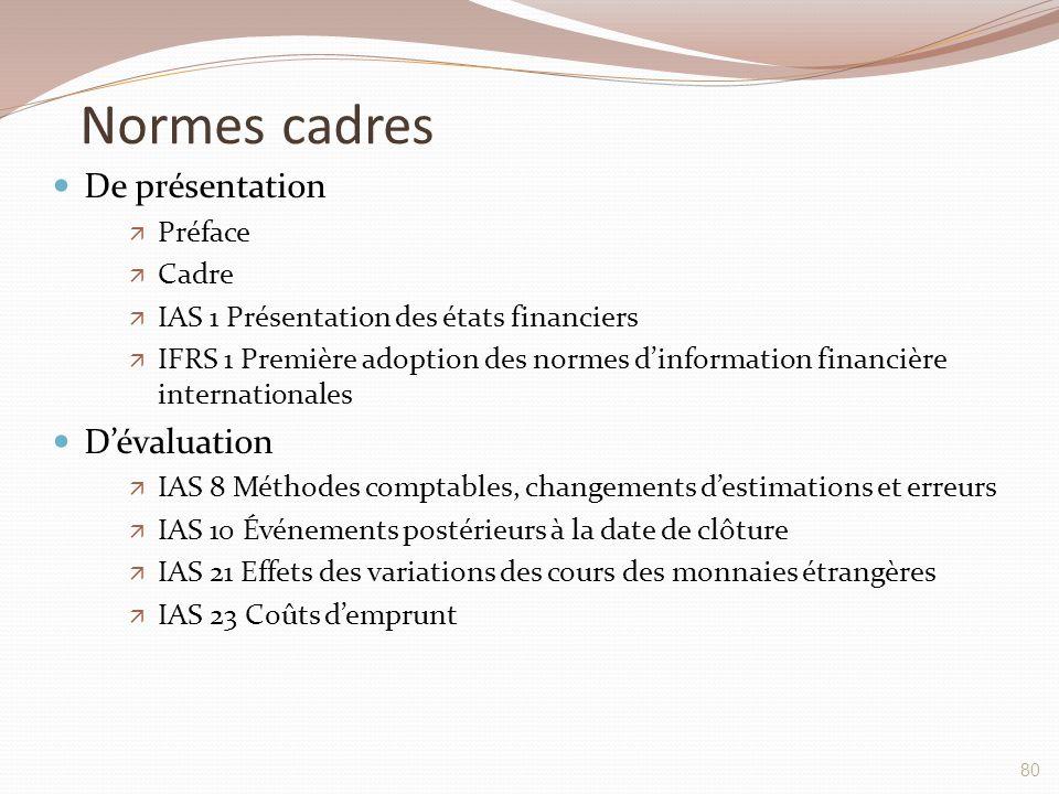 Normes cadres De présentation  Préface  Cadre  IAS 1 Présentation des états financiers  IFRS 1 Première adoption des normes d'information financiè