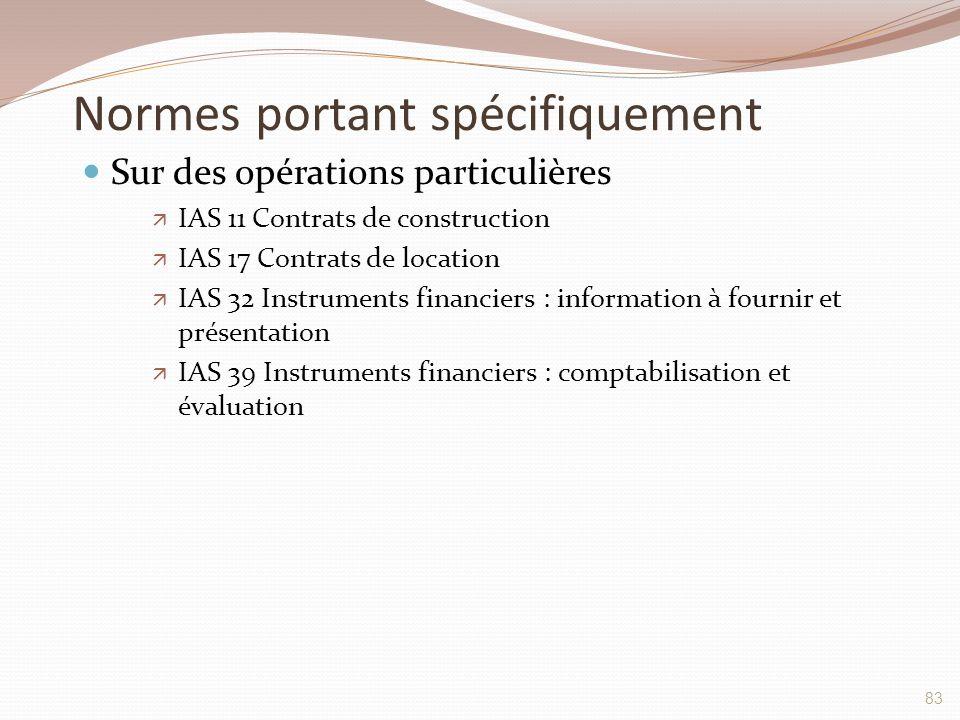 Normes portant spécifiquement Sur des opérations particulières  IAS 11 Contrats de construction  IAS 17 Contrats de location  IAS 32 Instruments fi