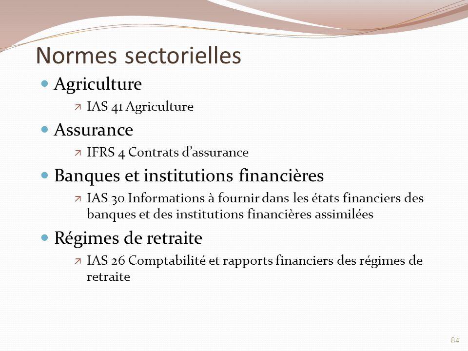 Normes sectorielles Agriculture  IAS 41 Agriculture Assurance  IFRS 4 Contrats d'assurance Banques et institutions financières  IAS 30 Informations