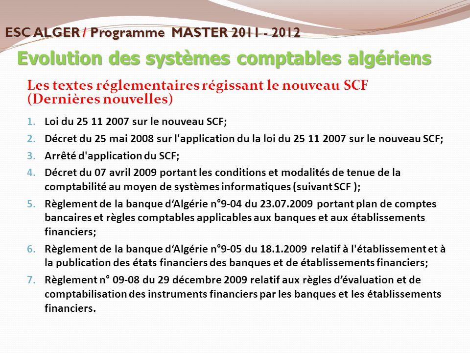 Les textes réglementaires régissant le nouveau SCF (Dernières nouvelles) 1. Loi du 25 11 2007 sur le nouveau SCF; 2. Décret du 25 mai 2008 sur l'appli