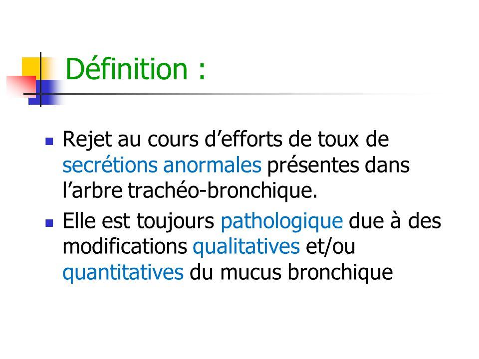 Définition : Rejet au cours d'efforts de toux de secrétions anormales présentes dans l'arbre trachéo-bronchique. Elle est toujours pathologique due à