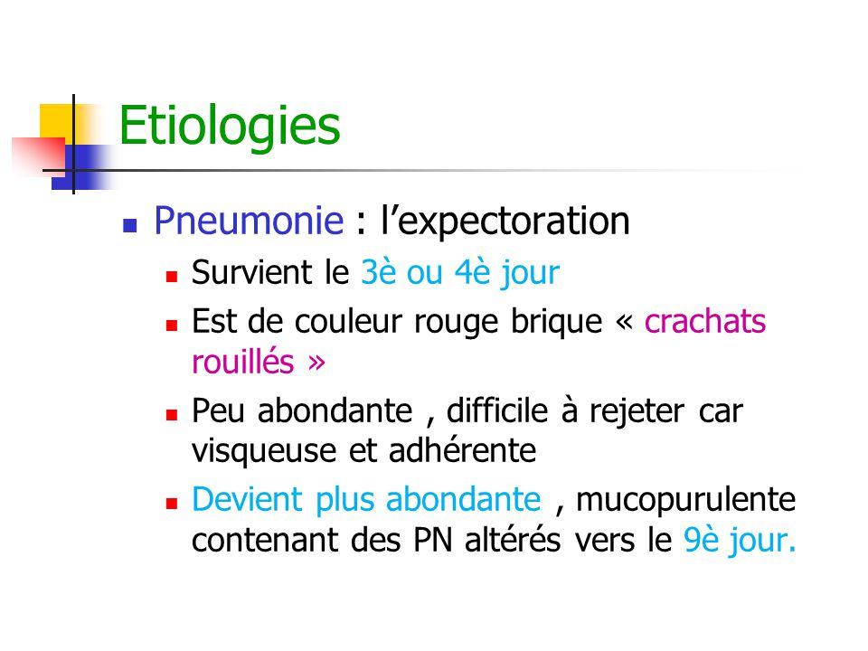 Etiologies Pneumonie : l'expectoration Survient le 3è ou 4è jour Est de couleur rouge brique « crachats rouillés » Peu abondante, difficile à rejeter