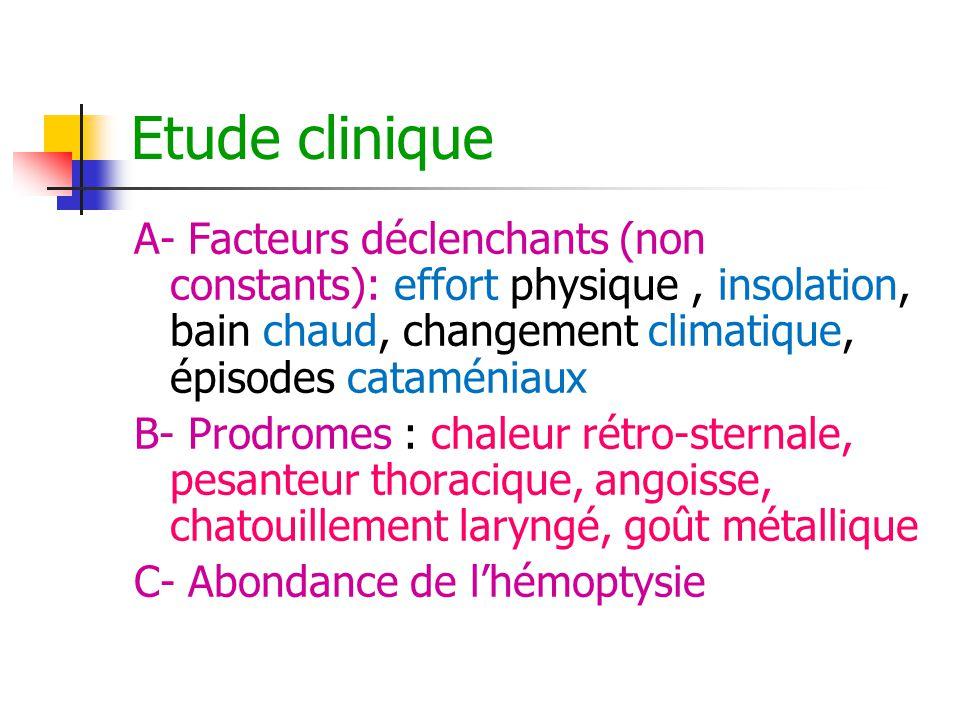 Etude clinique A- Facteurs déclenchants (non constants): effort physique, insolation, bain chaud, changement climatique, épisodes cataméniaux B- Prodr