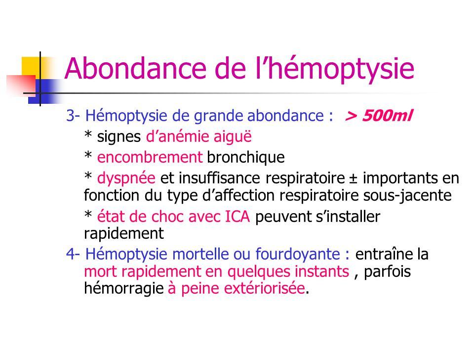 Abondance de l'hémoptysie 3- Hémoptysie de grande abondance : > 500ml * signes d'anémie aiguë * encombrement bronchique * dyspnée et insuffisance resp
