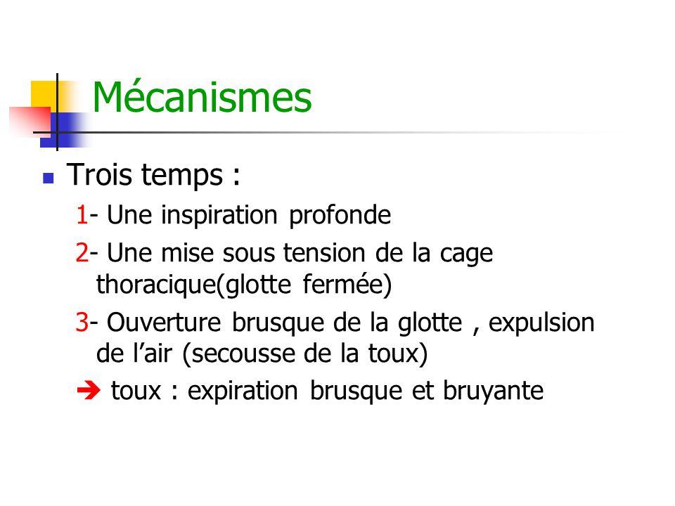 Mécanismes Trois temps : 1- Une inspiration profonde 2- Une mise sous tension de la cage thoracique(glotte fermée) 3- Ouverture brusque de la glotte,