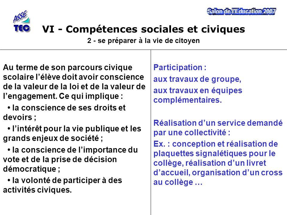 VI - Compétences sociales et civiques 2 - se préparer à la vie de citoyen Participation : aux travaux de groupe, aux travaux en équipes complémentaires.