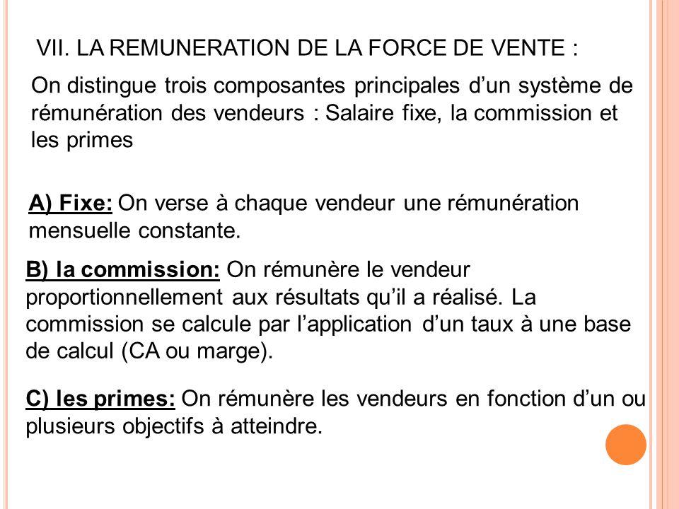 VII. LA REMUNERATION DE LA FORCE DE VENTE : On distingue trois composantes principales d'un système de rémunération des vendeurs : Salaire fixe, la co