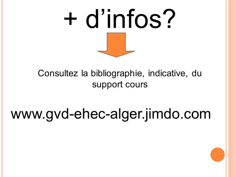 www.gvd-ehec-alger.jimdo.com + d'infos? Consultez la bibliographie, indicative, du support cours