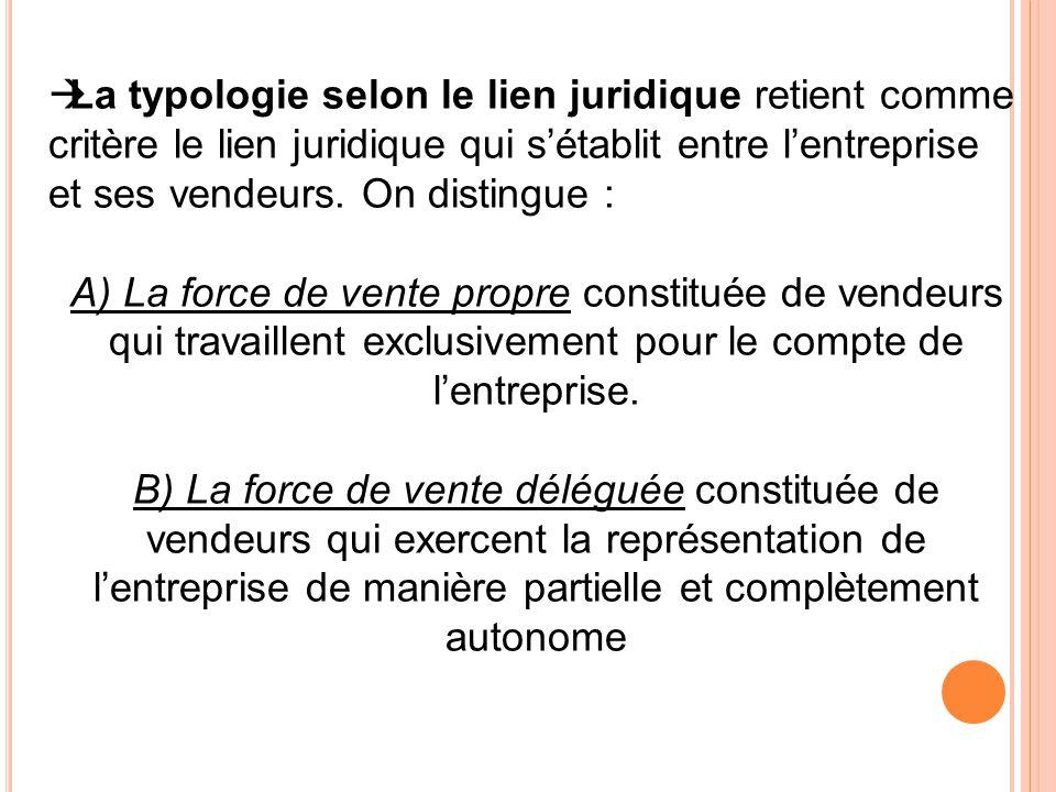LLa typologie selon le lien juridique retient comme critère le lien juridique qui s'établit entre l'entreprise et ses vendeurs. On distingue : A) La