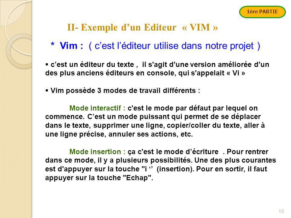 II- Exemple d'un Editeur « VIM » 10 * Vim : ( c'est l'éditeur utilise dans notre projet )  c'est un éditeur du texte, il s agit d une version améliorée d un des plus anciens éditeurs en console, qui s appelait « Vi »  Vim possède 3 modes de travail différents : Mode interactif : c est le mode par défaut par lequel on commence.