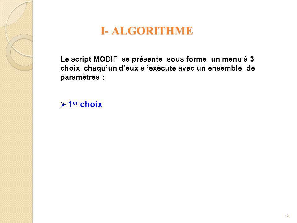 I- ALGORITHME I- ALGORITHME 14 Le script MODIF se présente sous forme un menu à 3 choix chaqu'un d'eux s 'exécute avec un ensemble de paramètres :  1 er choix
