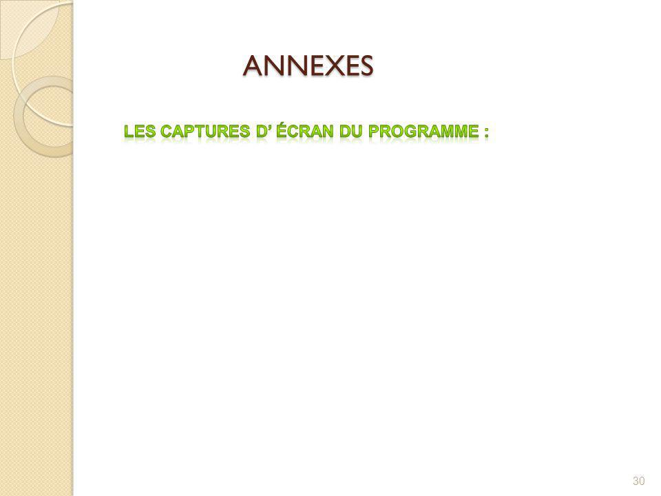 ANNEXES ANNEXES 30
