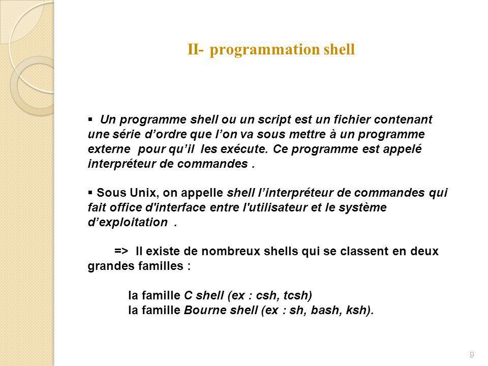 II- programmation shell 9  Un programme shell ou un script est un fichier contenant une série d'ordre que l'on va sous mettre à un programme externe pour qu'il les exécute.