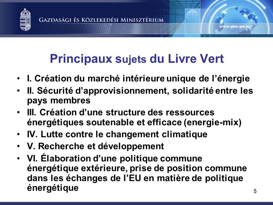 5 Principaux s ujets du Livre Vert I. Création du marché intérieure unique de l'énergie II.