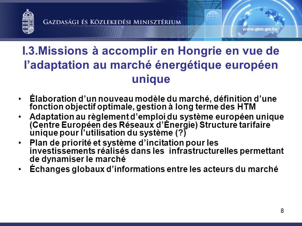 8 I.3.Missions à accomplir en Hongrie en vue de l'adaptation au marché énergétique européen unique Élaboration d'un nouveau modèle du marché, définition d'une fonction objectif optimale, gestion à long terme des HTM Adaptation au règlement d'emploi du système européen unique (Centre Européen des Réseaux d'Énergie) Structure tarifaire unique pour l'utilisation du système ( ) Plan de priorité et système d'incitation pour les investissements réalisés dans les infrastructurelles permettant de dynamiser le marché Échanges globaux d'informations entre les acteurs du marché