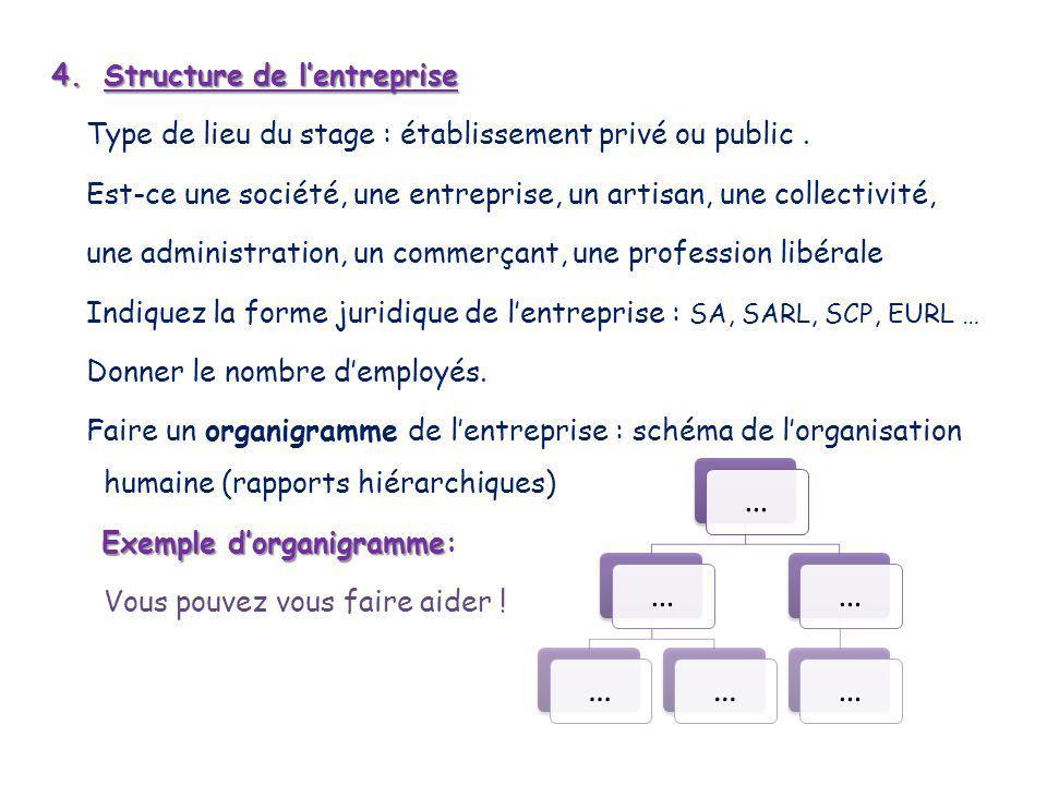 4.S tructure de l'entreprise Type de lieu du stage : établissement privé ou public.