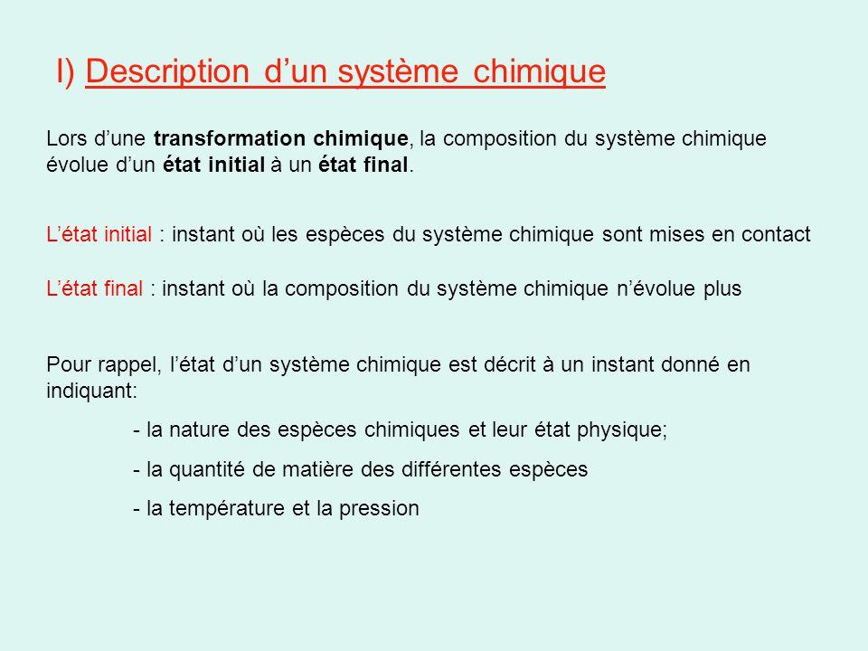 II) Proportions stoechiométriques « Rien ne se perd, rien ne se crée, tout se transforme » Antoine Lavoisier, chimiste Français, 1743-1794 Rappel, une équation de réaction chimique s'écrit comme ceci: Réactifs  Produits On définit les « nombres stoechiométriques » comme étant les proportions dans lesquelles les réactifs sont consommés et les produits apparaissent Si les réactifs sont consommés à l'état final, le mélange est dit stoechiométrique.