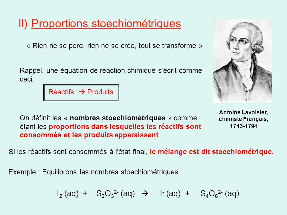 II) Proportions stoechiométriques « Rien ne se perd, rien ne se crée, tout se transforme » Antoine Lavoisier, chimiste Français, 1743-1794 Rappel, une