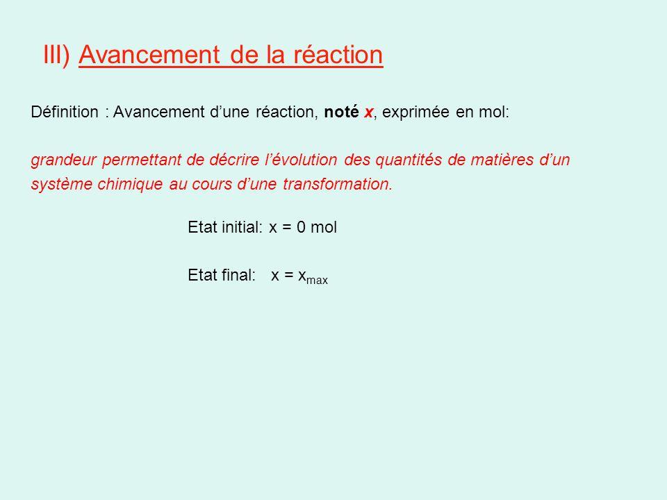 III) Avancement de la réaction Etat initial: x = 0 mol Etat final: x = x max Définition : Avancement d'une réaction, noté x, exprimée en mol: grandeur