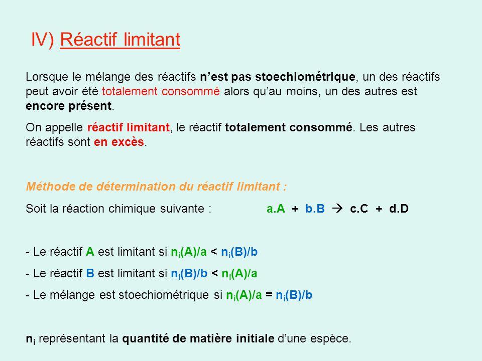 V) Description de l'état final Les quantités de matières de réactifs restant à l'état final s'obtiennent par différence entre la quantité de matière initiale n i et la quantité consommée Soit la réaction chimique suivante : a.A + b.B  c.C + d.D ayant atteint l'avancement x f, les quantités de matières n f des espèces chimiques présentes dans le système à l'état final sont données par : - n f (A) = n i (A) – a.