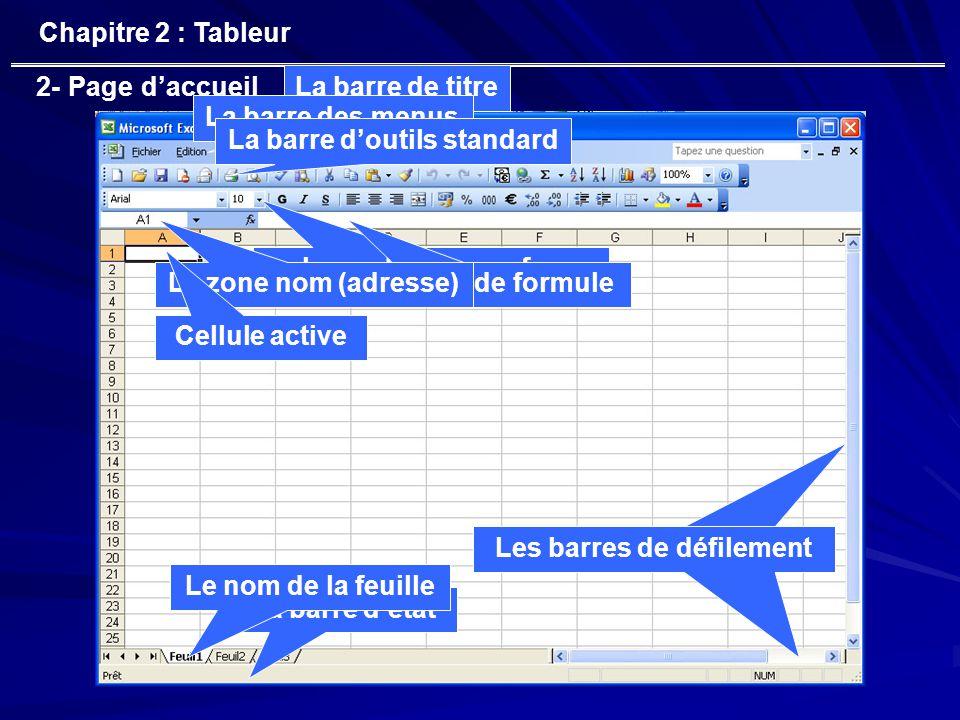 2- Page d'accueil Chapitre 2 : Tableur La barre de titre La barre des menus La barre d'outils standard La barre de mise en forme La barre de formuleLa