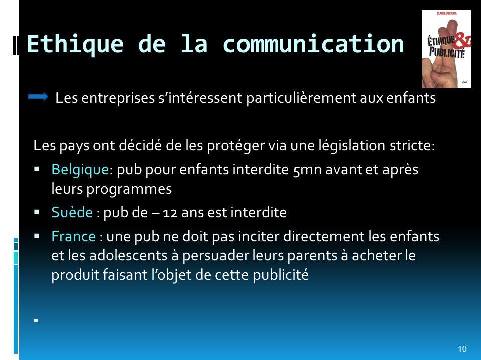 Ethique de la communication Les entreprises s'intéressent particulièrement aux enfants Les pays ont décidé de les protéger via une législation stricte