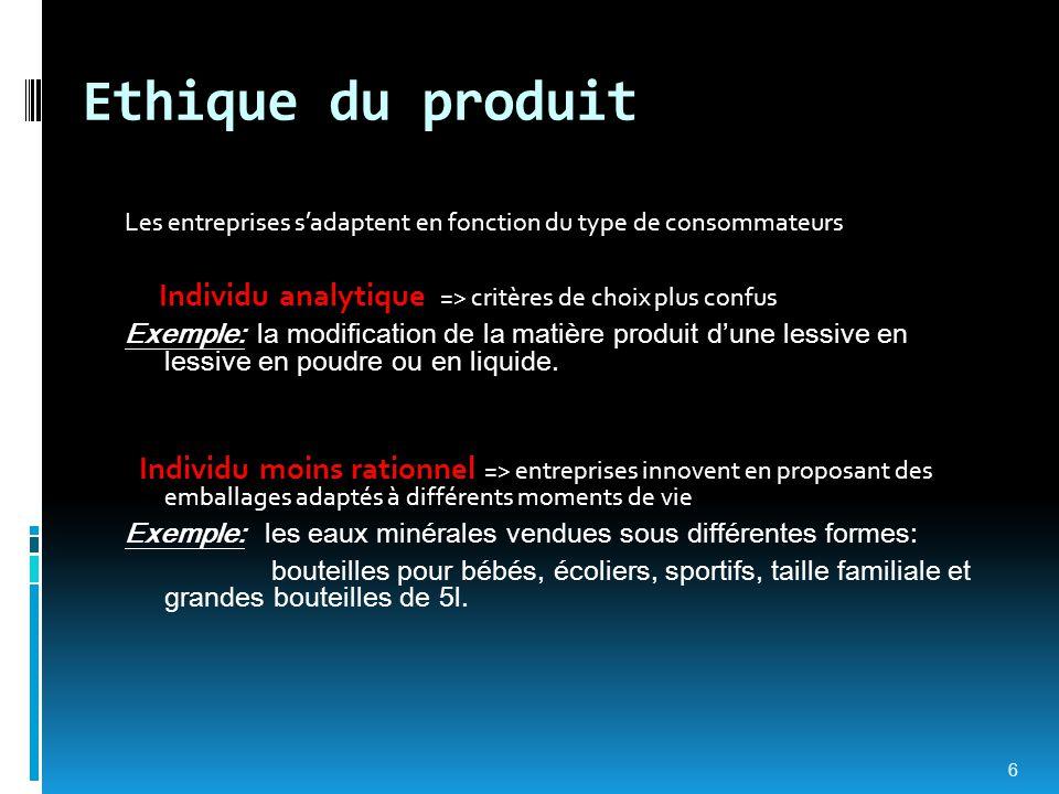 Ethique du produit Les entreprises s'adaptent en fonction du type de consommateurs Individu analytique => critères de choix plus confus Exemple: la mo