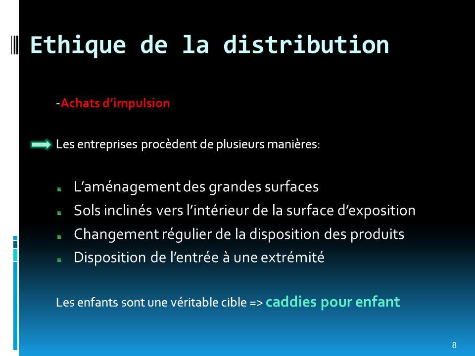 Ethique de la distribution -Achats d'impulsion Les entreprises procèdent de plusieurs manières: L'aménagement des grandes surfaces Sols inclinés vers