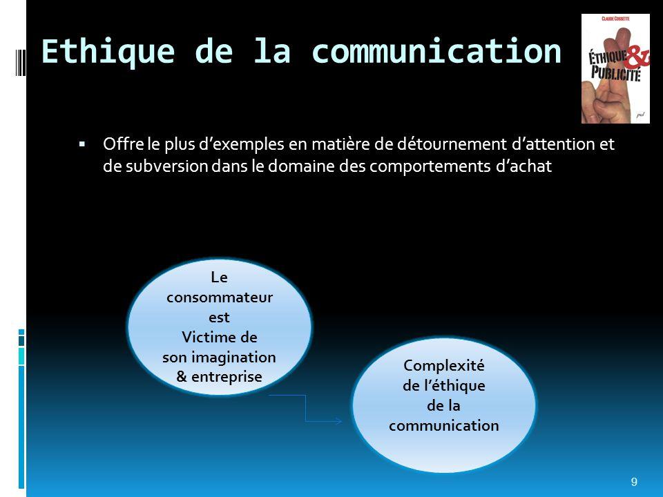 Ethique de la communication  Offre le plus d'exemples en matière de détournement d'attention et de subversion dans le domaine des comportements d'ach