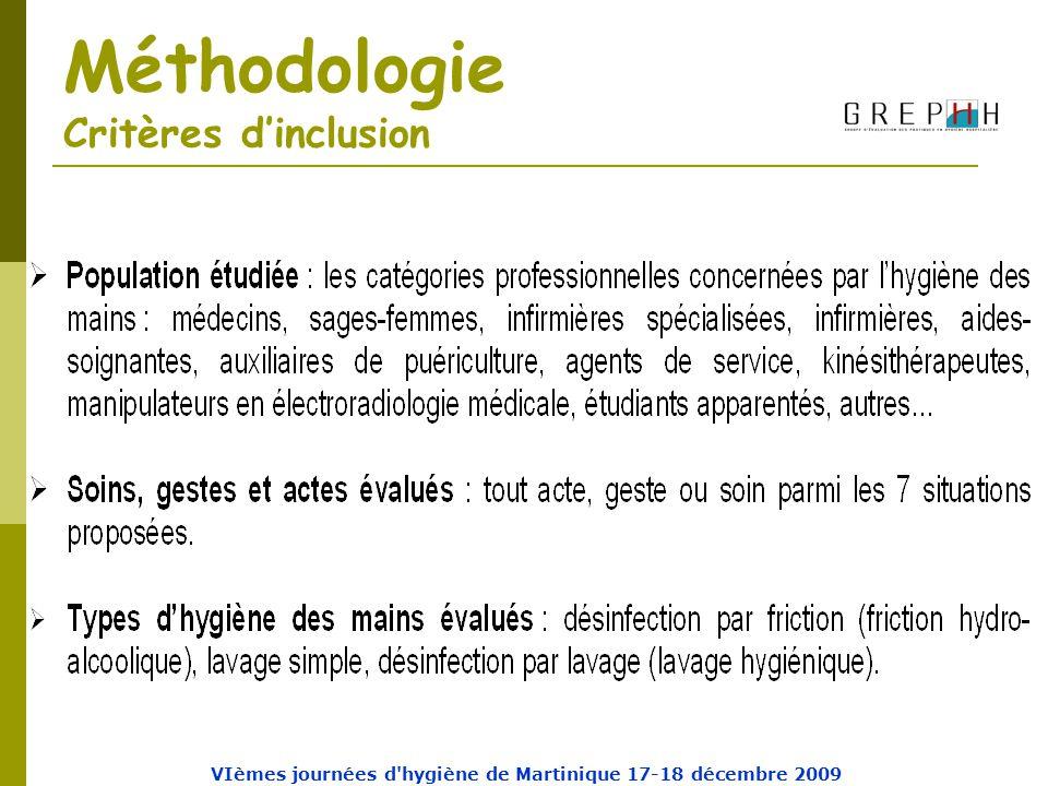 Méthodologie Critères d'inclusion VIèmes journées d hygiène de Martinique 17-18 décembre 2009