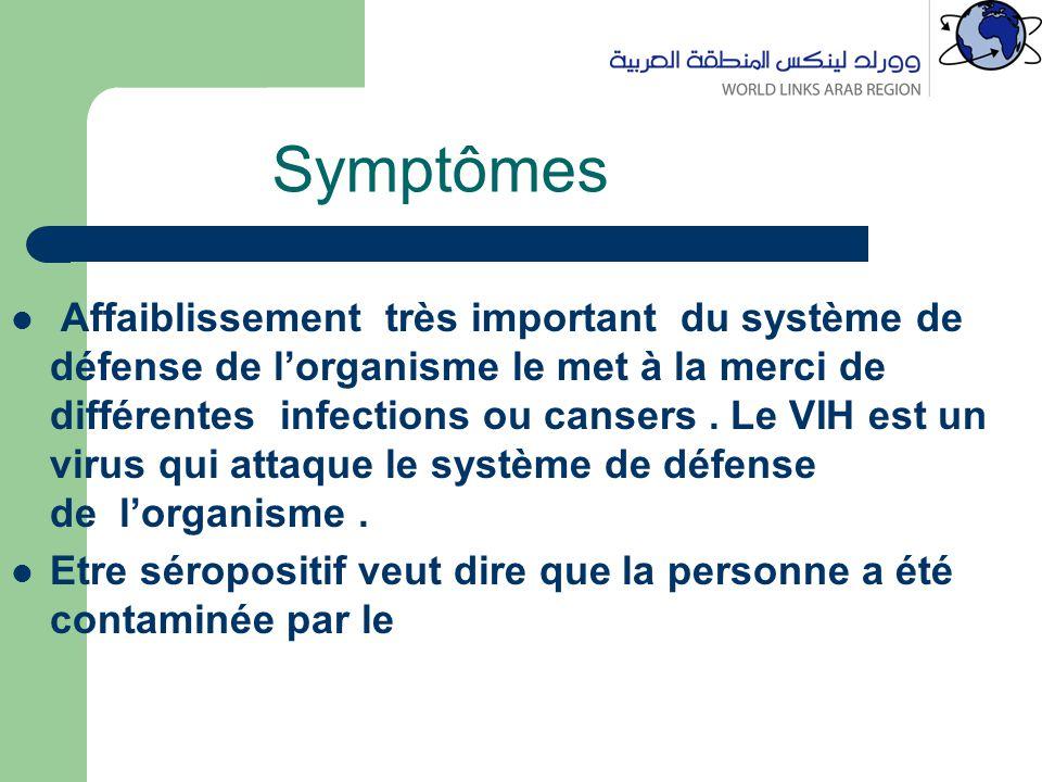 Symptômes Affaiblissement très important du système de défense de l'organisme le met à la merci de différentes infections ou cansers.