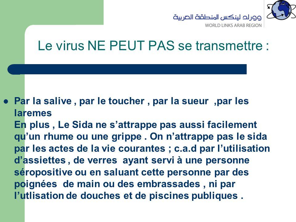 Le virus NE PEUT PAS se transmettre : Par la salive, par le toucher, par la sueur,par les laremes En plus, Le Sida ne s'attrappe pas aussi facilement qu'un rhume ou une grippe.
