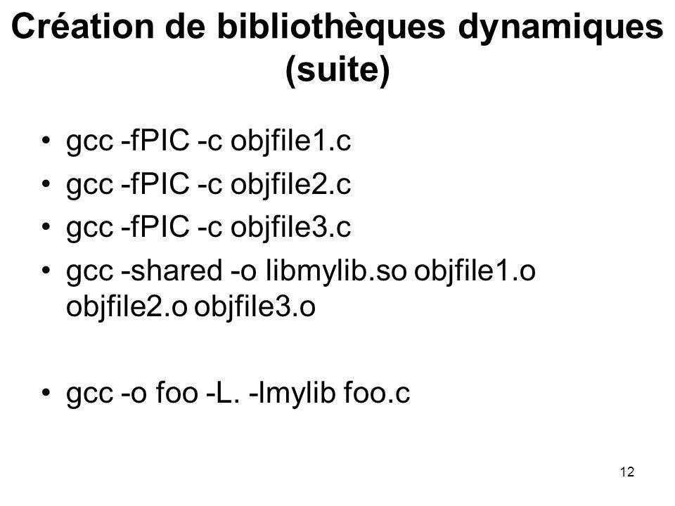 12 gcc -fPIC -c objfile1.c gcc -fPIC -c objfile2.c gcc -fPIC -c objfile3.c gcc -shared -o libmylib.so objfile1.o objfile2.o objfile3.o gcc -o foo -L.