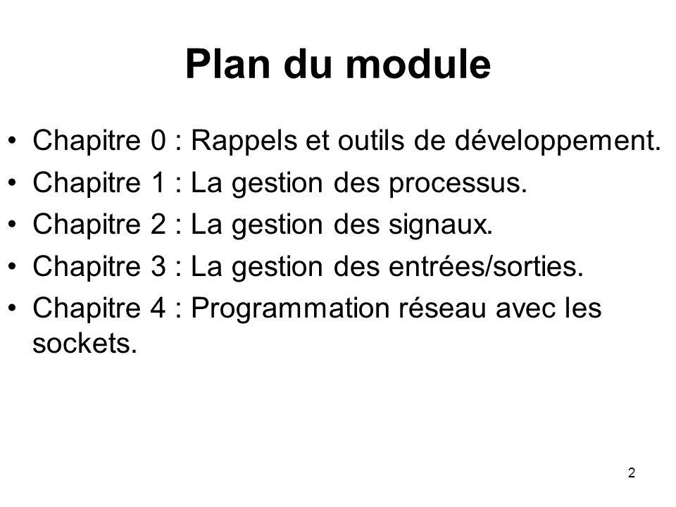 2 Plan du module Chapitre 0 : Rappels et outils de développement. Chapitre 1 : La gestion des processus. Chapitre 2 : La gestion des signaux. Chapitre