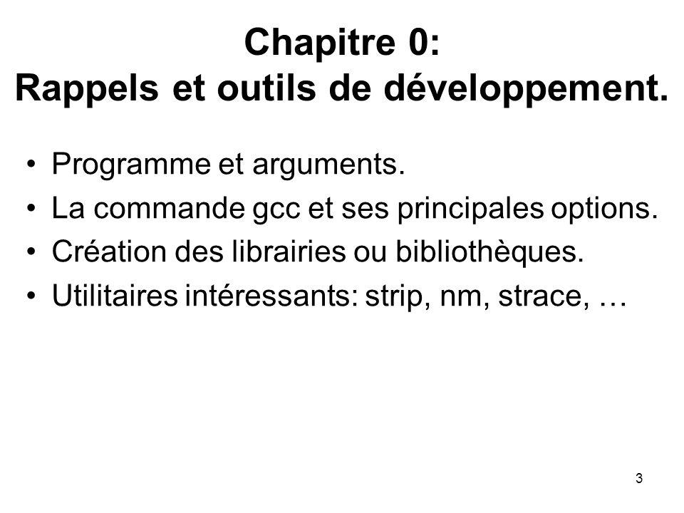 3 Chapitre 0: Rappels et outils de développement. Programme et arguments. La commande gcc et ses principales options. Création des librairies ou bibli