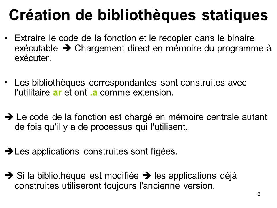 6 Extraire le code de la fonction et le recopier dans le binaire exécutable  Chargement direct en mémoire du programme à exécuter. Les bibliothèques