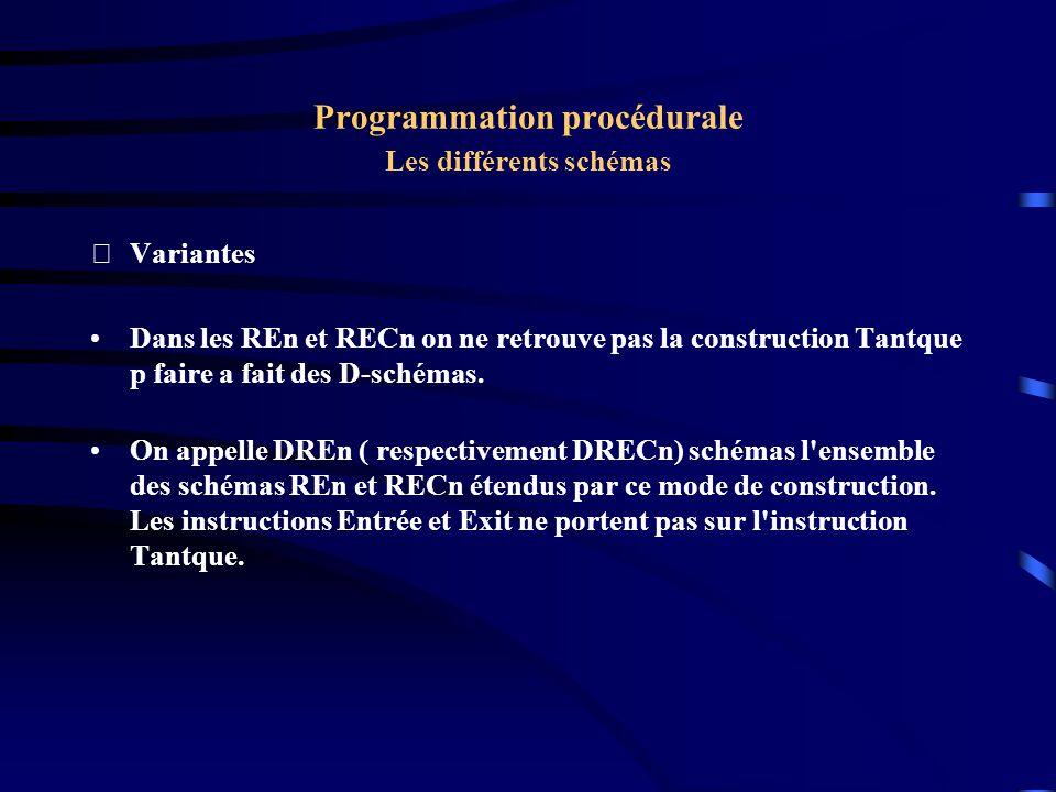 Programmation procédurale Les différents schémas Variantes Dans les REn et RECn on ne retrouve pas la construction Tantque p faire a fait des D-schém