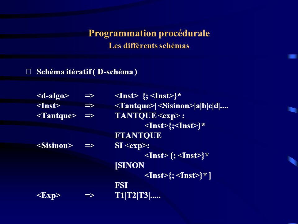 Programmation procédurale Les différents schémas Schéma itératif ( D-schéma ) Les seules structures de contrôle sont la répétitive et l alternative Le langage des D-schémas est solution de l équation à point fixe : D = A U D ; D U Tantque P : D Fintantque Si P : D Sinon D Finsi