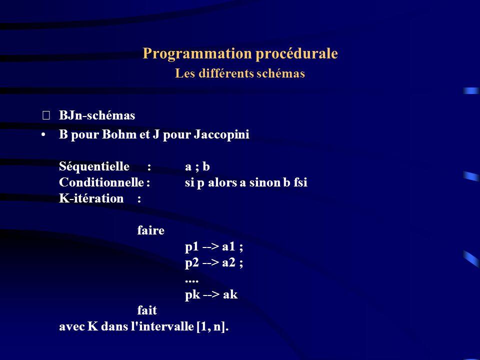 Programmation procédurale Les différents schémas BJn-schémas B pour Bohm et J pour Jaccopini Séquentielle :a ; b Conditionnelle : si p alors a sinon