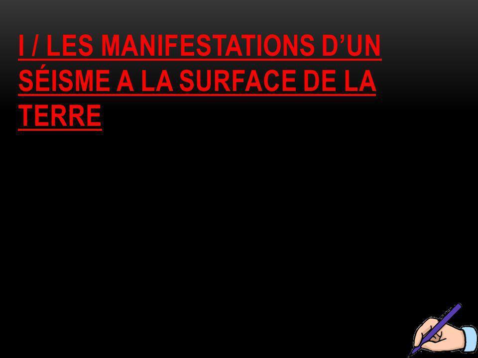 I / LES MANIFESTATIONS D'UN SÉISME A LA SURFACE DE LA TERRE