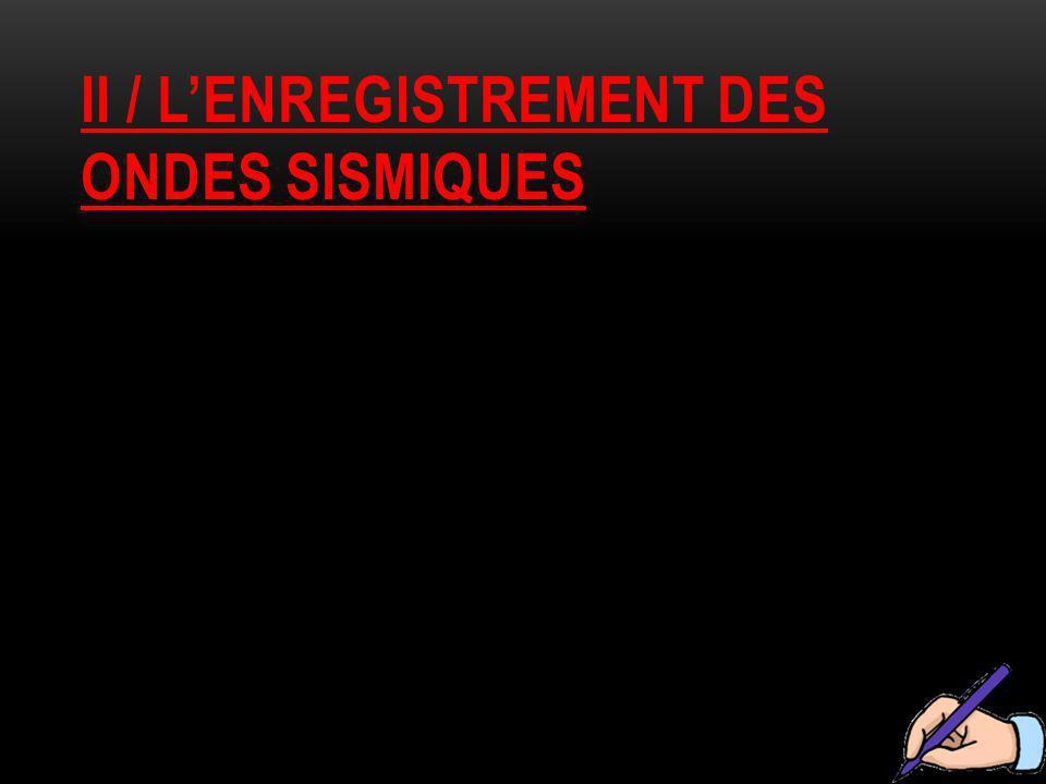 II / L'ENREGISTREMENT DES ONDES SISMIQUES
