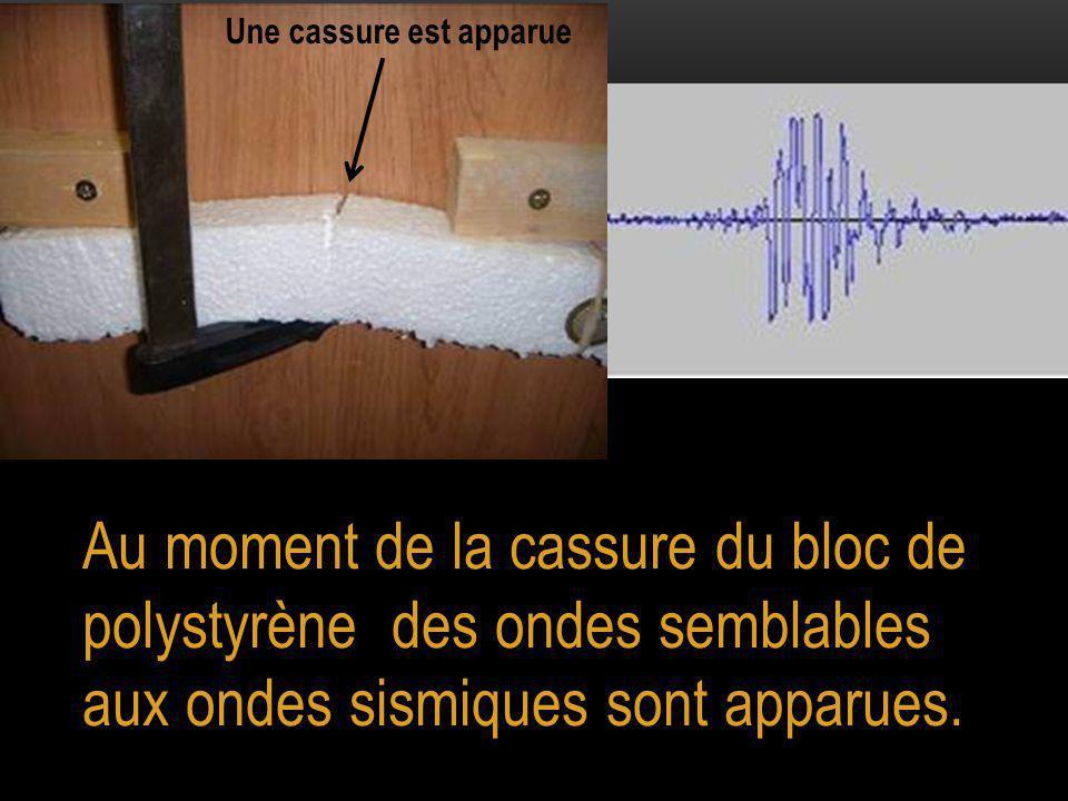 Au moment de la cassure du bloc de polystyrène des ondes semblables aux ondes sismiques sont apparues.