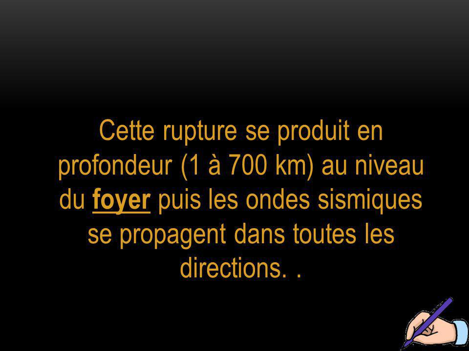 Cette rupture se produit en profondeur (1 à 700 km) au niveau du foyer puis les ondes sismiques se propagent dans toutes les directions..
