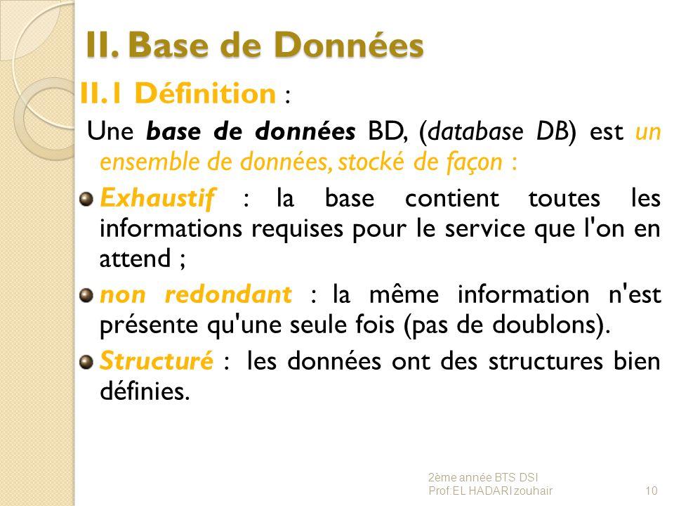 II. Base de Données II.1 Définition : Une base de données BD, (database DB) est un ensemble de données, stocké de façon : Exhaustif : la base contient