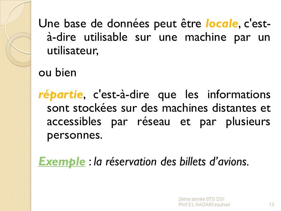 Une base de données peut être locale, c'est- à-dire utilisable sur une machine par un utilisateur, ou bien répartie, c'est-à-dire que les informations