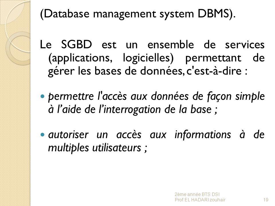 (Database management system DBMS). Le SGBD est un ensemble de services (applications, logicielles) permettant de gérer les bases de données, c'est-à-d