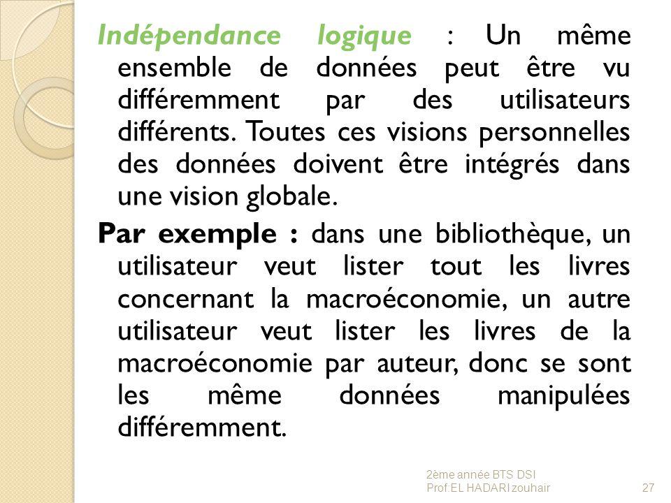 Indépendance logique : Un même ensemble de données peut être vu différemment par des utilisateurs différents. Toutes ces visions personnelles des donn