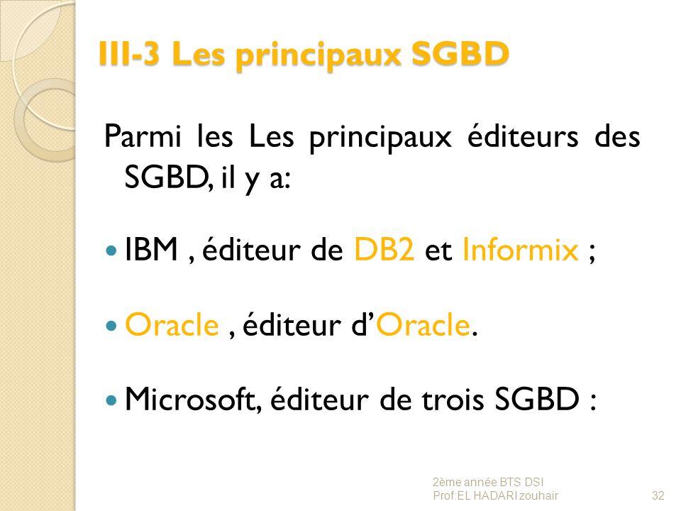 III-3 Les principaux SGBD Parmi les Les principaux éditeurs des SGBD, il y a: IBM, éditeur de DB2 et Informix ; Oracle, éditeur d'Oracle. Microsoft, é