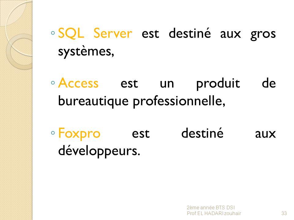 ◦ SQL Server est destiné aux gros systèmes, ◦ Access est un produit de bureautique professionnelle, ◦ Foxpro est destiné aux développeurs. 33 2ème ann